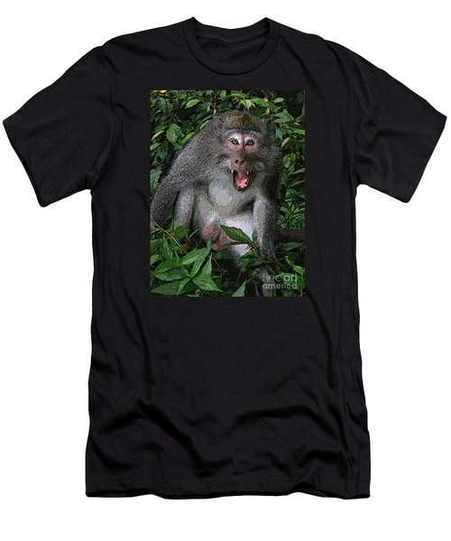 Men's T-Shirt (Slim Fit) featuring the photograph  Aggressive Monkey From Bali by Sergey Lukashin