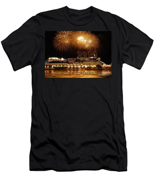Men's T-Shirt (Slim Fit) featuring the photograph Aida Cruise Ship 2014 New Year's Day New Year's Eve by Paul Fearn