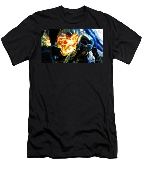 Men's T-Shirt (Slim Fit) featuring the painting Air To Ground by Dave Luebbert