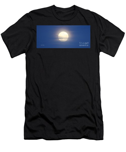 Airplane Flying Into Full Moon Men's T-Shirt (Athletic Fit)