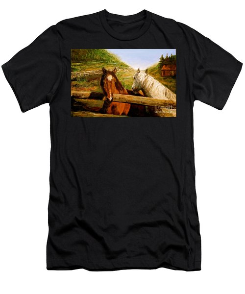 Men's T-Shirt (Slim Fit) featuring the painting Alberta Horse Farm by Sher Nasser