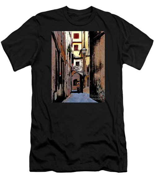 Men's T-Shirt (Slim Fit) featuring the digital art Alley In Florence 2 Digitized by Jennie Breeze