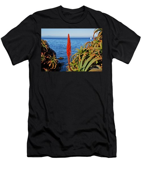 Aloe Arborescens Flowering At Pacific Grove Men's T-Shirt (Slim Fit) by Susan Wiedmann