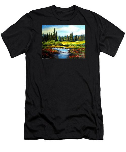 Men's T-Shirt (Slim Fit) featuring the painting Alpine Meadow by Hazel Holland