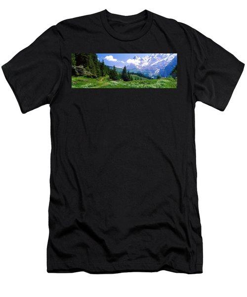 Alpine Scene Near Murren Switzerland Men's T-Shirt (Athletic Fit)