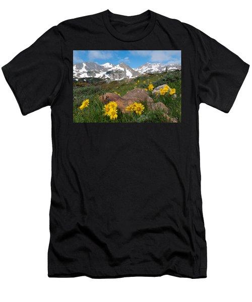 Alpine Sunflower Mountain Landscape Men's T-Shirt (Athletic Fit)