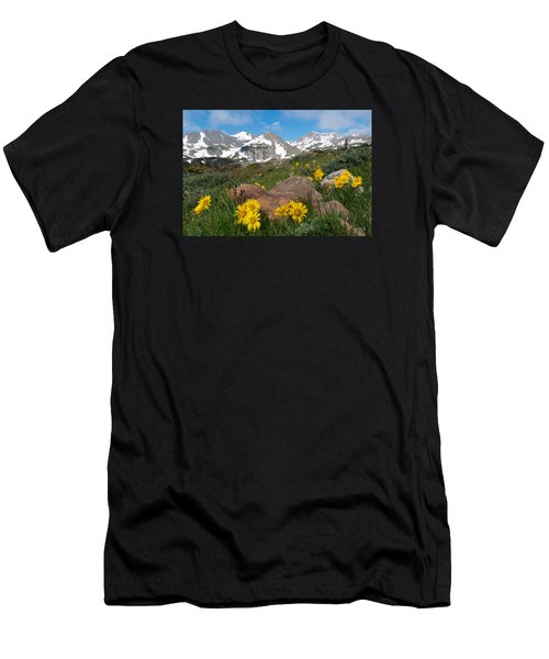 Alpine Sunflower Mountain Landscape Men's T-Shirt (Athletic Fit)