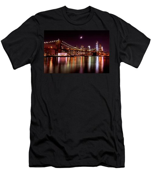Amazing New York Skyline And Brooklyn Bridge With Moon Rising Men's T-Shirt (Athletic Fit)