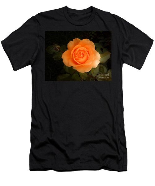 Men's T-Shirt (Slim Fit) featuring the photograph Amber Flush Rose by Hanza Turgul