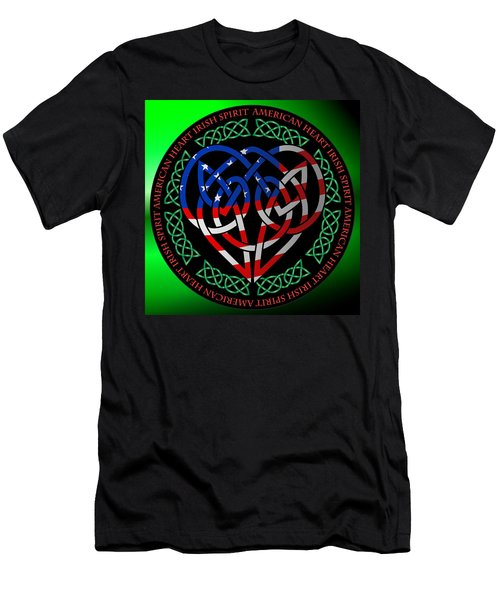 Men's T-Shirt (Slim Fit) featuring the digital art American Celtic Heart by Ireland Calling