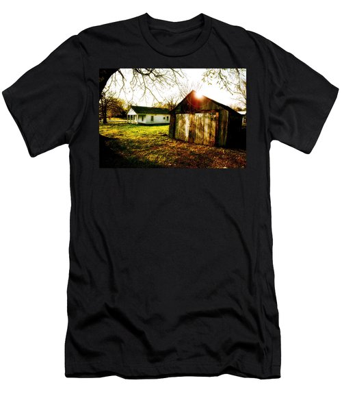 American Fabric   Mickey Mantle's Childhood Home Men's T-Shirt (Slim Fit) by Iconic Images Art Gallery David Pucciarelli