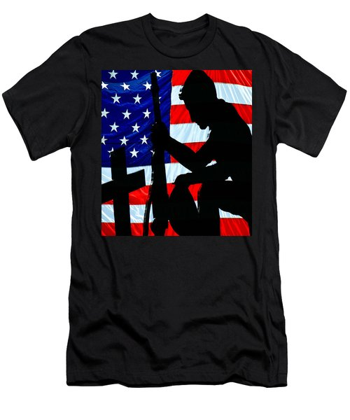 A Time To Remember American Flag At Rest Men's T-Shirt (Slim Fit) by Bob Orsillo