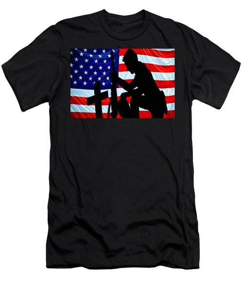 A Time To Remember American Flag At Rest Men's T-Shirt (Athletic Fit)