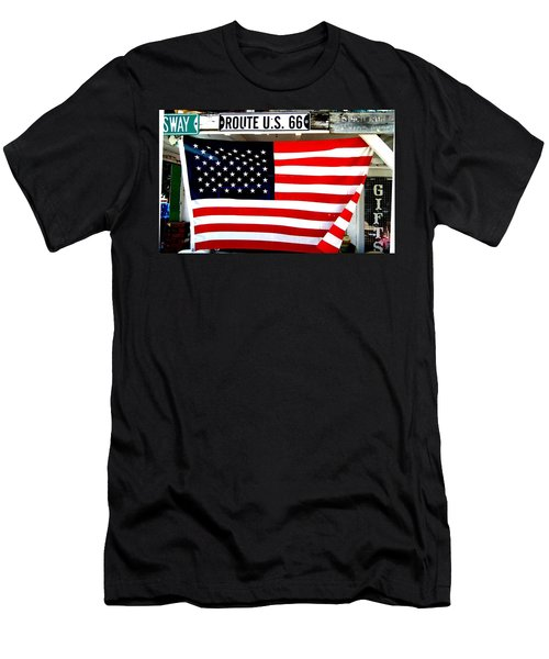 American Flag Route 66 Men's T-Shirt (Athletic Fit)