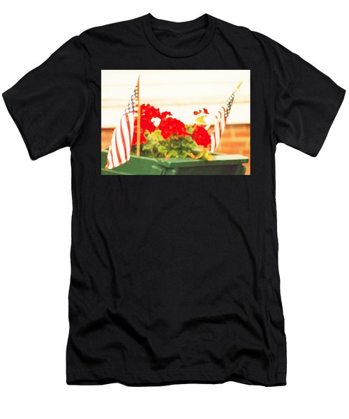 American Flags And Geraniums In A Wheelbarrow In Maine, One Men's T-Shirt (Athletic Fit)