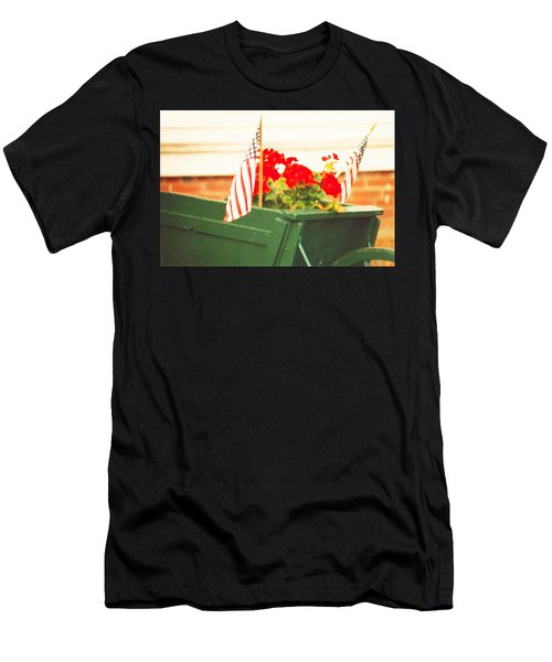 American Flags And Geraniums In A Wheelbarrow In Maine, Two Men's T-Shirt (Athletic Fit)