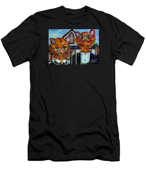 Men's T-Shirt (Slim Fit) featuring the painting American Gothic Cats - A Parody by Eloise Schneider