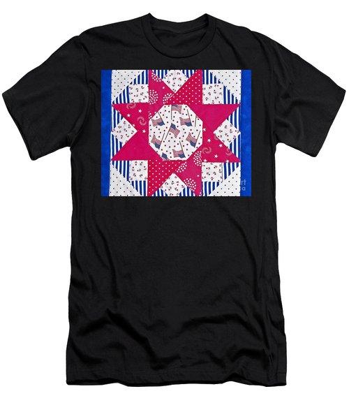 Americana Quilt Block Design Art Prints Men's T-Shirt (Athletic Fit)
