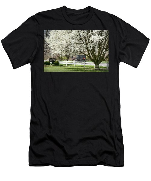 Amish Buggy Fowering Tree Men's T-Shirt (Athletic Fit)