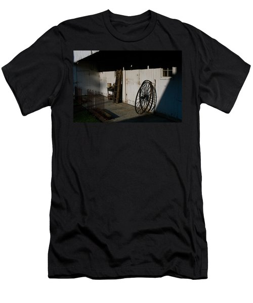 Men's T-Shirt (Slim Fit) featuring the photograph Amish Buggy Wheel by Greg Graham