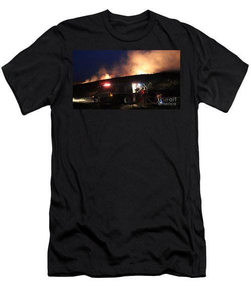 Men's T-Shirt (Slim Fit) featuring the photograph An Engine Crew Works At Night On White Draw Fire by Bill Gabbert