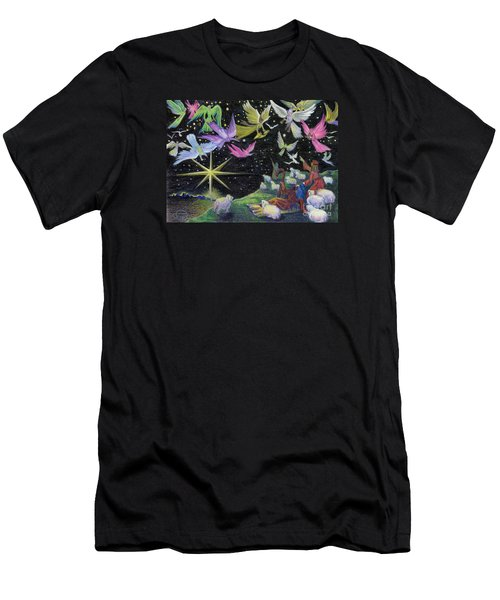 Men's T-Shirt (Athletic Fit) featuring the painting Angel Skies by Nancy Cupp