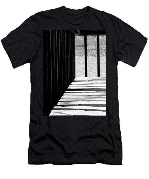 Men's T-Shirt (Slim Fit) featuring the photograph Angles And Shadows - Black And White by Shawna Rowe