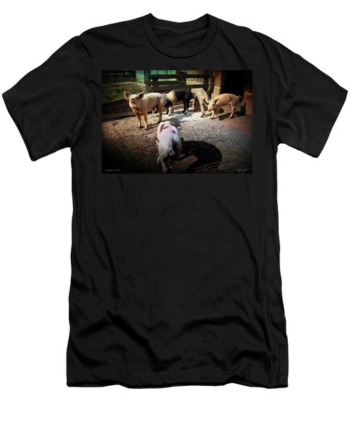 Men's T-Shirt (Slim Fit) featuring the photograph Angustown Piggies by Cynthia Lassiter