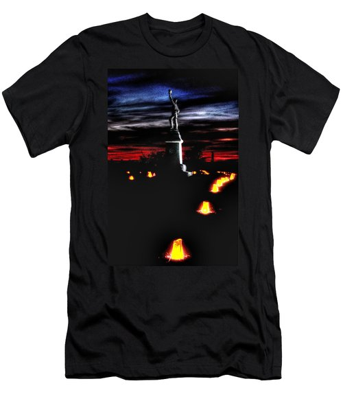 Men's T-Shirt (Slim Fit) featuring the photograph Antietam Memorial Illumination - 3rd Pennsylvania Volunteer Infantry Sunset by Michael Mazaika