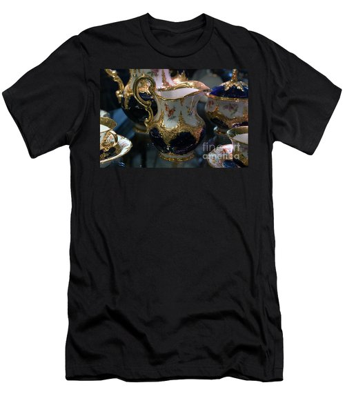 Men's T-Shirt (Athletic Fit) featuring the photograph Antique Porcelain Coffee Set In Show Case by Gunter Nezhoda