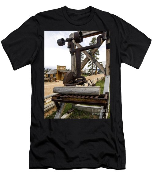 Men's T-Shirt (Slim Fit) featuring the photograph Antique Table Saw Tool Wood Cutting Machine by Paul Fearn
