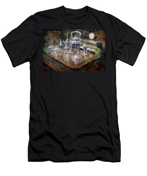 Men's T-Shirt (Athletic Fit) featuring the photograph Antique Tiffany Sterling Silver Coffee Tea Set by Gunter Nezhoda