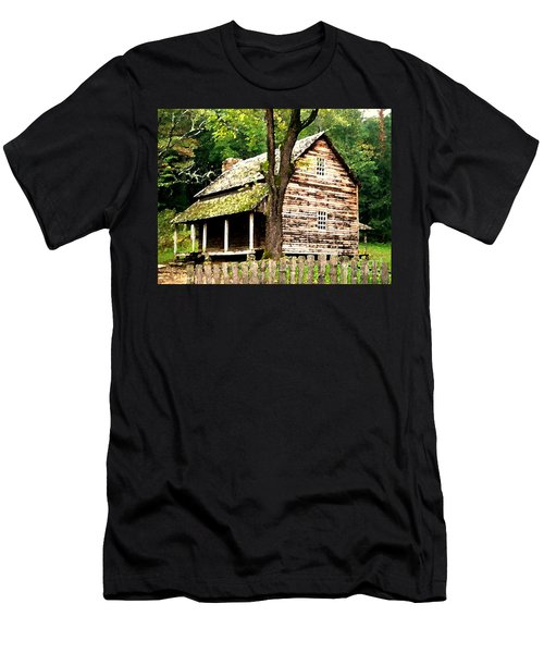 Appalachian Cabin Men's T-Shirt (Slim Fit) by Desiree Paquette