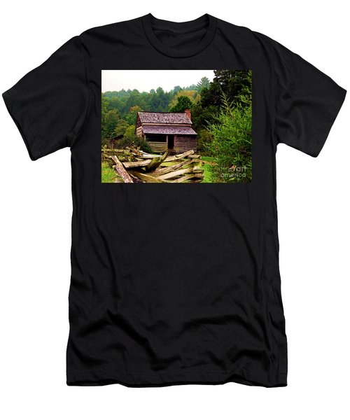 Appalachian Cabin With Fence Men's T-Shirt (Athletic Fit)