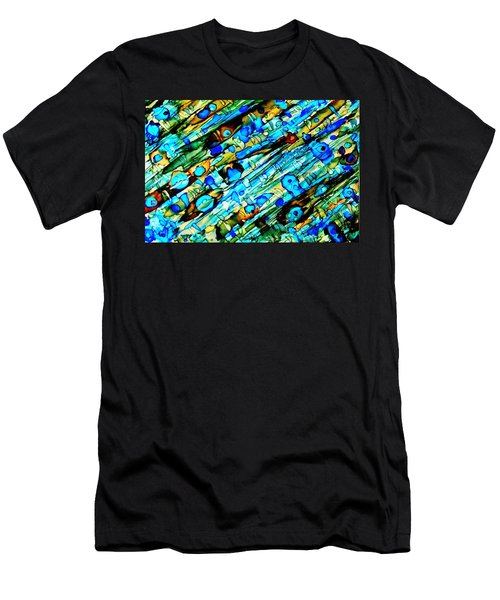 Aqua Brown Jade Gold Abstract Alcohol Inks Men's T-Shirt (Slim Fit) by Danielle  Parent