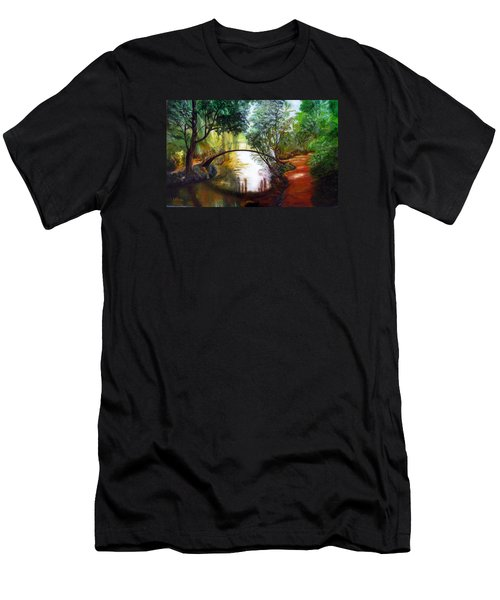 Men's T-Shirt (Slim Fit) featuring the painting Arched Bridge Over Brilliant Waters by LaVonne Hand