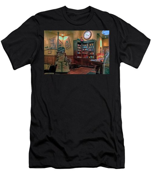 Men's T-Shirt (Slim Fit) featuring the photograph Aromas Coffee Shop Newport News Virginia by Jerry Gammon