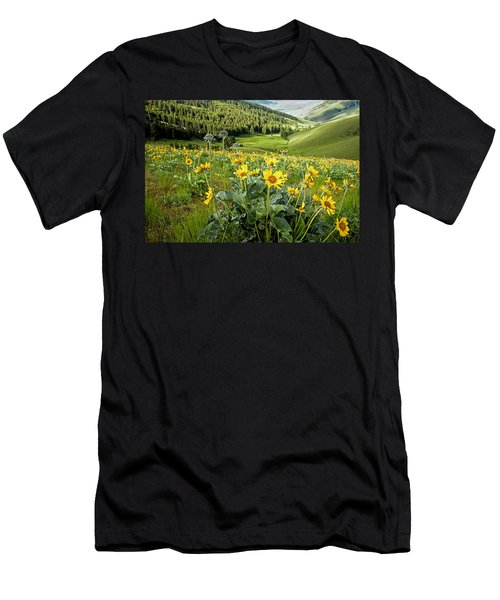 Men's T-Shirt (Slim Fit) featuring the photograph Arrow Leaf Balsam Root by Jack Bell