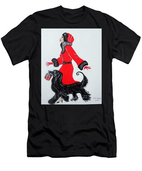 Art Deco  Girl With Red  Coat Men's T-Shirt (Athletic Fit)