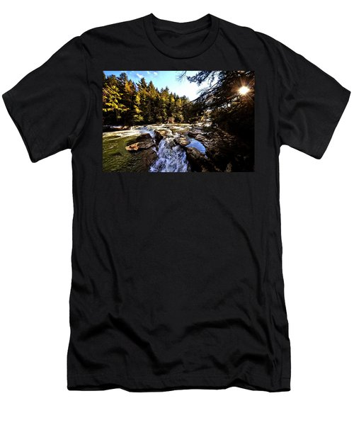 As Lawrence Welk Used To Say-ah Waterfall Waterfall Men's T-Shirt (Slim Fit) by Robert McCubbin