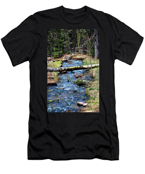 Men's T-Shirt (Slim Fit) featuring the photograph Aspen Crossing Mountain Stream by Barbara Chichester
