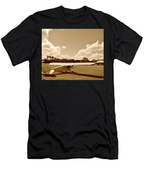 Men's T-Shirt (Slim Fit) featuring the photograph At The Airfield by Jean Goodwin Brooks