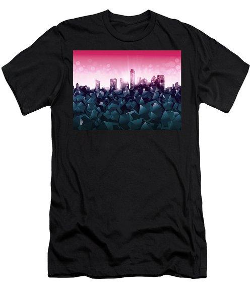 Austin Skyline Geometry 2 Men's T-Shirt (Slim Fit) by Bekim Art