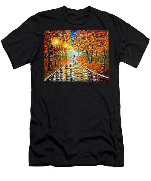 Men's T-Shirt (Athletic Fit) featuring the painting Autumn Beauty Original Palette Knife Painting by Georgeta  Blanaru