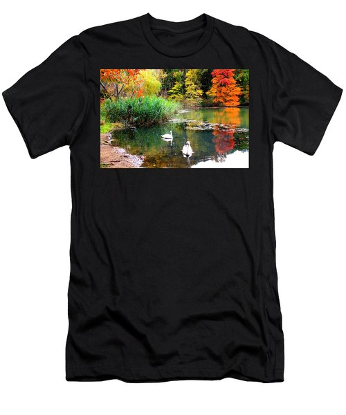 Autumn By The Swan Lake Men's T-Shirt (Athletic Fit)