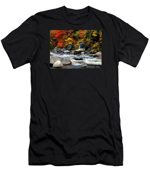 Men's T-Shirt (Slim Fit) featuring the painting Autumn Creek by Bruce Nutting
