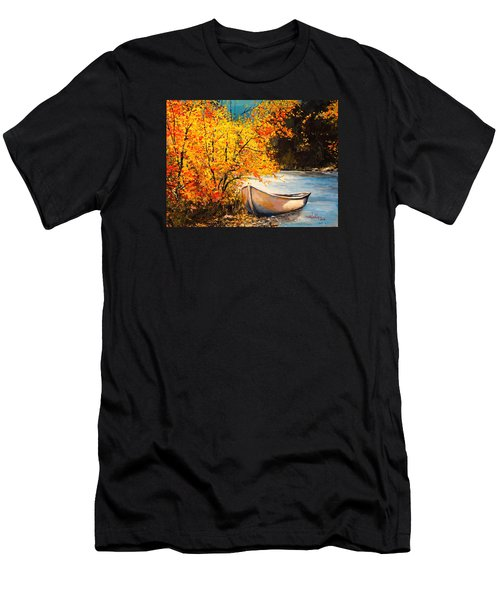 Men's T-Shirt (Slim Fit) featuring the painting Autumn Gold by Alan Lakin