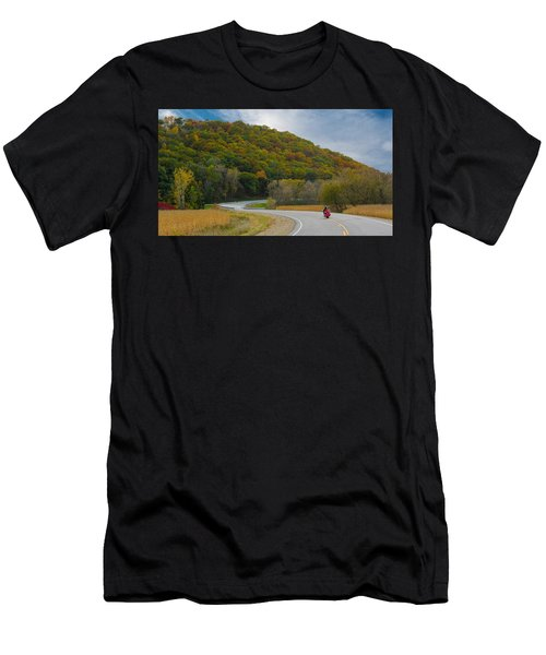 Autumn Motorcycle Rider / Orange Men's T-Shirt (Athletic Fit)