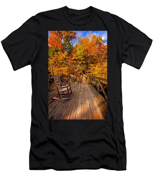 Autumn Rocking On Wooden Bridge Landscape Print Men's T-Shirt (Athletic Fit)