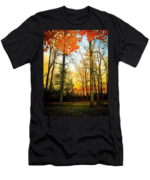 Autumn Sunset  Men's T-Shirt (Slim Fit) by Sara Frank